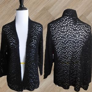 NWT/ BLACK SEQUIN CROCHET COVER UP  SWEATER